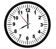 Cronometre a parede preta de 8 manhãs, rendição da cara -3d Fotos de Stock Royalty Free