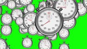 Cronometri che cadono sul fondo verde illustrazione vettoriale