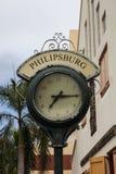Cronometri da zona commerciale sulla via posteriore in Philipsburg Immagini Stock
