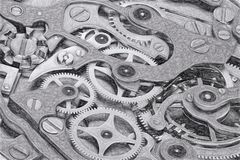 Cronometri il macchinario di schizzo con la rappresentazione di gradazione di grigio 3D degli ingranaggi Fotografia Stock