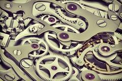 Cronometri la rappresentazione del macchinario 3D con la vista del primo piano degli ingranaggi Fotografie Stock