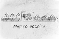 Cronometri a macchina in contanti, profitti più veloci di tornitura immagini stock