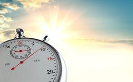 Cronometro analogico contro lo sfondo di alba Fotografia Stock