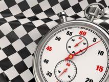 Cronometro con la bandierina checkered. Inizio o rivestimento. illustrazione di stock