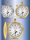 Cronometro con una siluetta di un corridore. Immagine Stock