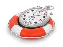 Cronometro e salvagente (percorso di ritaglio incluso) Fotografia Stock Libera da Diritti