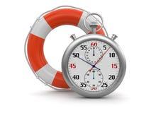 Cronometro e salvagente (percorso di ritaglio incluso) Fotografie Stock Libere da Diritti