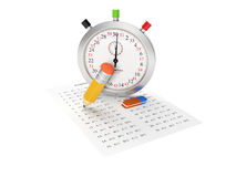 Cronometro ed esame Fotografie Stock Libere da Diritti