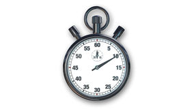 Cronometro, strumento di tempo isolato sulla vista frontale bianca e Fotografie Stock Libere da Diritti