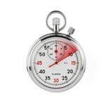 Cronometro su priorità bassa bianca con il percorso di residuo della potatura meccanica Immagine Stock