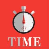 Cronometro su vackground rosso Fotografia Stock