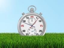 Cronometro sull'erba (percorso di ritaglio incluso) Immagine Stock Libera da Diritti