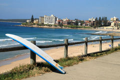 Cronulla Beach. Surfboard leaning on frence at Cronulla Beach royalty free stock photo