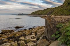 Crook Ness, North Yorkshire, UK. Rocky beach and north sea view in Crook Ness near Scarborough, North Yorkshire, UK Stock Photo