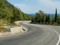 Crook of road. To sea Royalty Free Stock Photos