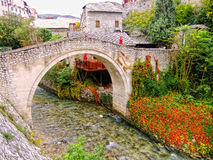 Crooked Bridge, Mostar, Bosnia and Herzegovina Stock Photo