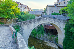 The Crooked Bridge in Mostar. The Crooked Bridge in the old city of Mostar, Bosnia and Herzegovina stock photography