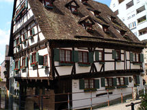 Crooked House. Schiefes Haus (Crooked House) in Ulm, South-Germany stock images