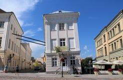 CROOKED HOUSE IN ESTONIA Stock Photo