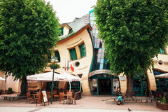 Crooked house and shopping center in Sopot, Poland Royalty Free Stock Images
