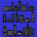 Crooked Houses At Night. Crooked Houses - naive silhouettes with high contrast - vector version will be better Stock Photography