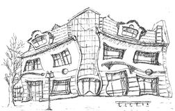 Crooked Little House Sketch Royalty Free Stock Photography