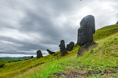 Crooked Moai in quarry, bottom view, Rapa Nui royalty free stock images