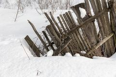 Crooked old wooden fence stock photography