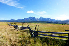 Crooked Rail Fence & Sawtooth Mountains Royalty Free Stock Photography