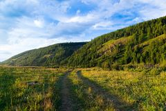 Road to the field, going to the mountains, Altai Republic, Russia stock image