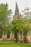 The Crooked Spire in Chesterfield, Derbyshire , England. Chesterfield Church Saint Mary and All Saints is in the town of Chesterfield in Derbyshire, England. It royalty free stock image