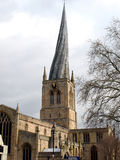 The Crooked Spire, Chesterfield. The famous crooked spire at Chesterfield, Derbyshire, England, UK. The twisted spire was caused when under construction as the Stock Photos