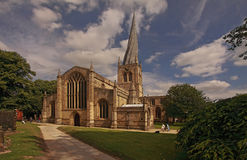 The Crooked Spire. On Chesterfield parish church is a notable feature of the Derbyshire landscape stock image