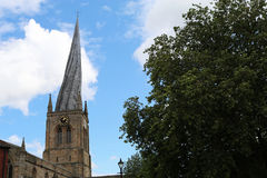 The crooked spire at St Mary and All Saints Church in Chesterfie. The famouse crooked spire landmark of St Mary and All Saints Church in Chesterfield royalty free stock photography