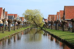 Crooked weeping willow over canal. A weeping willow has grown crooked over a canal in a Dutch village. Pollard willows and houses are lined up alongside the Stock Photo