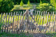A crooked wooden fence. royalty free stock photos