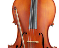 Crop of cello and bow, isolated. Crop of a cello and bow isolated on white stock image
