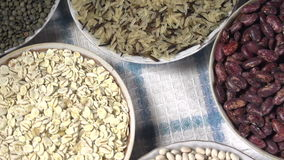 Crop of Cereals and Legumes. The camera moves past the small plates filling various kinds of grasses and legumes stock footage