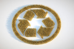 Crop circle with recyclation symbol Royalty Free Stock Photography