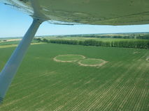 Crop circles spotted from airplane Stock Photos