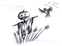 Crop in danger. Black and white illustration of a scarecrow and bird Royalty Free Stock Photos