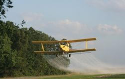 Crop Duster. Photo of crop duster taken over a rice field royalty free stock photos