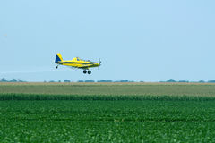 Crop duster. Airplane flying over soy bean field royalty free stock images