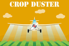Crop duster airplane spraying a farm field. Vector illustration royalty free illustration