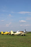Crop duster airplanes on airfield Stock Images