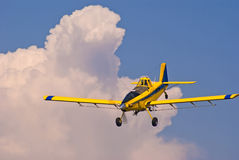Crop Duster Out Of The Clouds Royalty Free Stock Photo