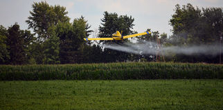 Crop Duster Sprays Field Royalty Free Stock Images