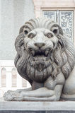 Crop head black lion statue. In temple Royalty Free Stock Photos