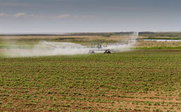 Crop irrigation, Norfolk, England Royalty Free Stock Images