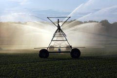 Crop irrigation system. Spraying water on a farmers field royalty free stock photo